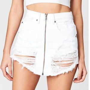 LF white zip up jean skirt